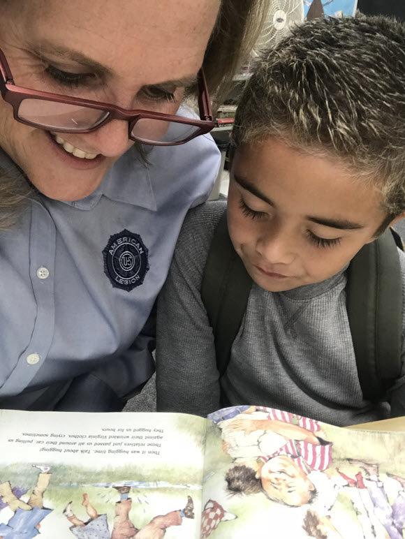 Post 149 and Unit 149 Aux member, Desirae Smidt, volunteers as a tutor for the Oasis Program, in the Escondido Community Center. She is part of the intergenerational tutoring program working to help build reading skills for our younger generation