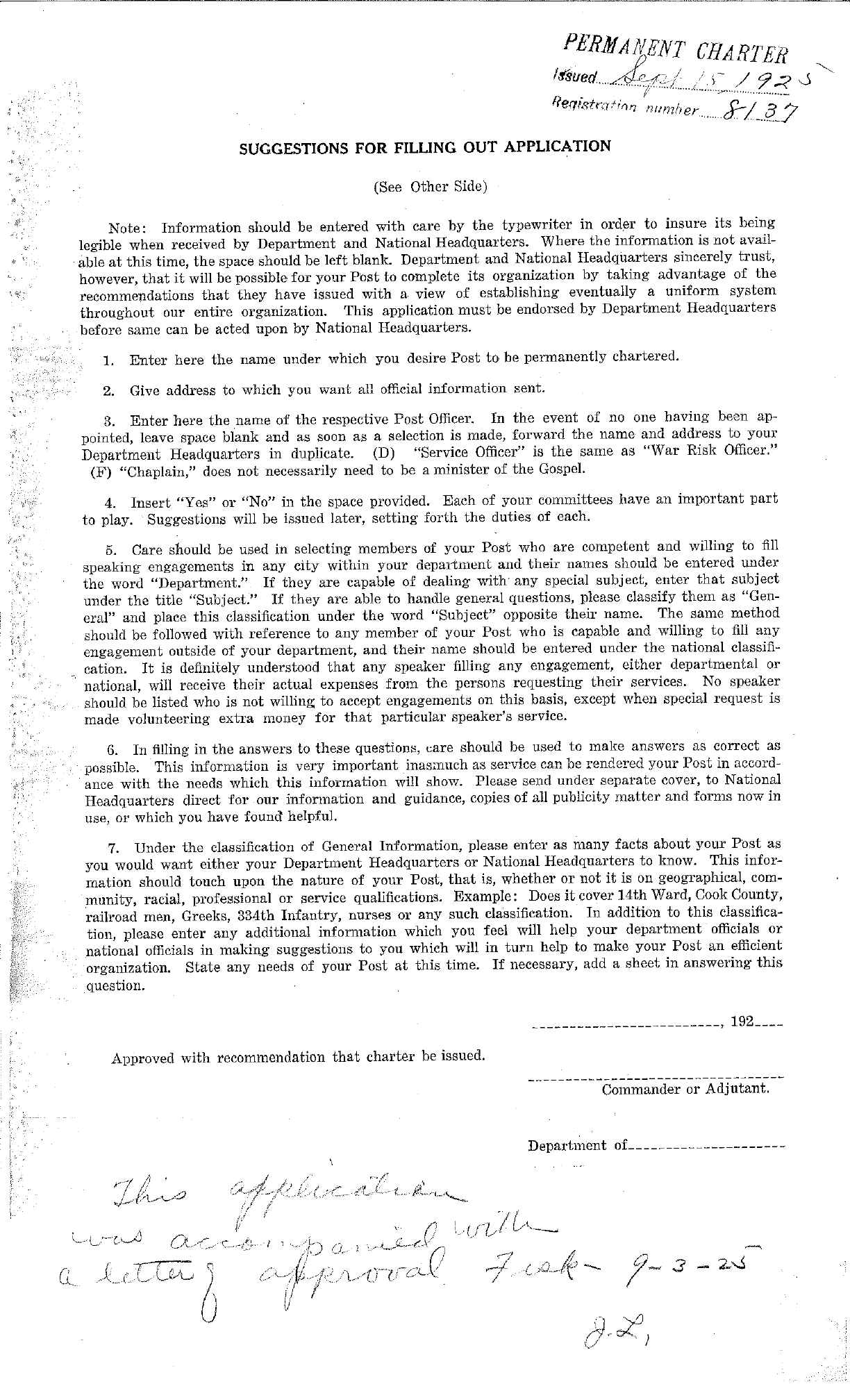 Post 149: Post Application for Permanent Charter September 15, 1925 - Page 2