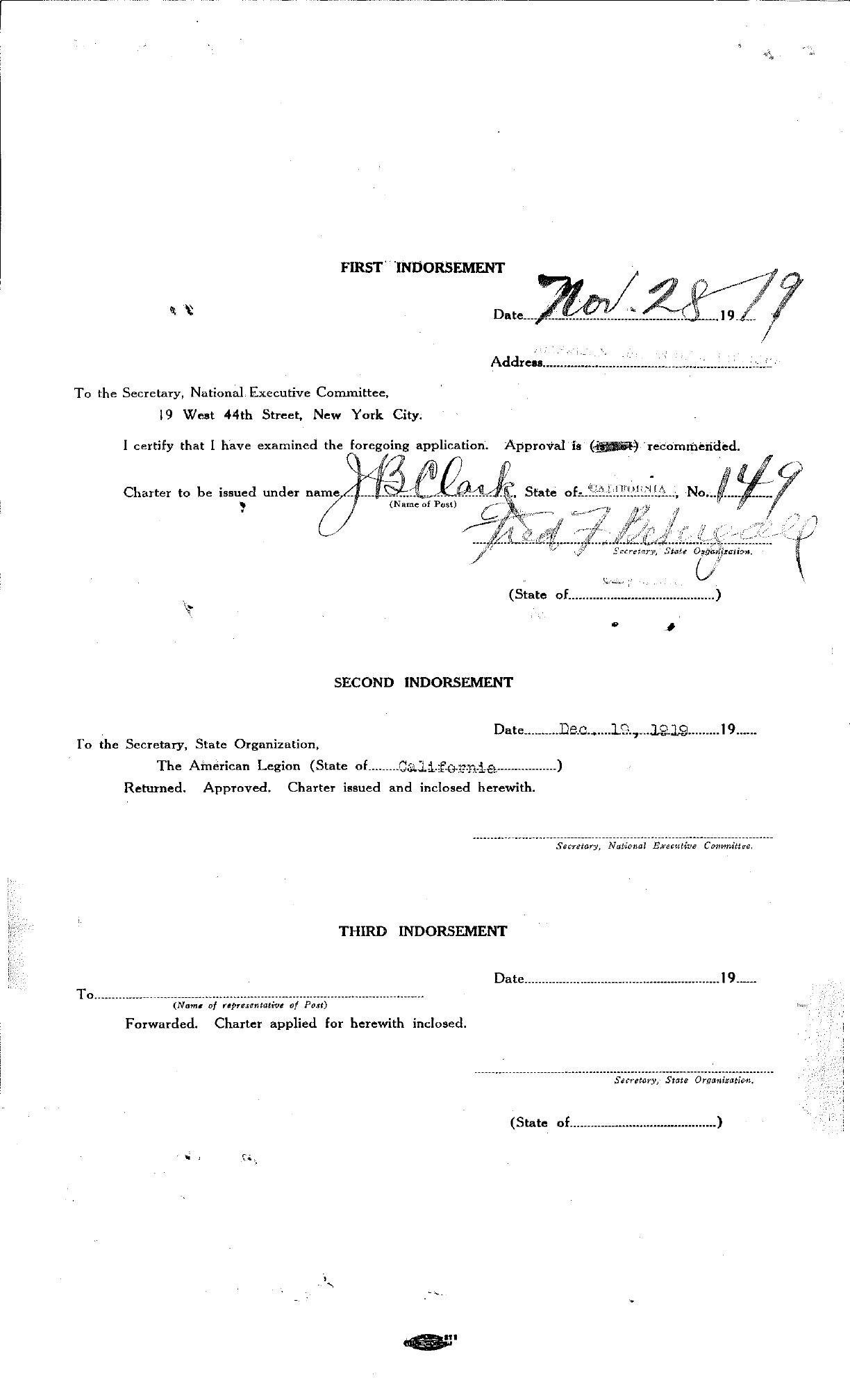 Post 149: Application for Post of American Legion November 26, 1919 - page 2