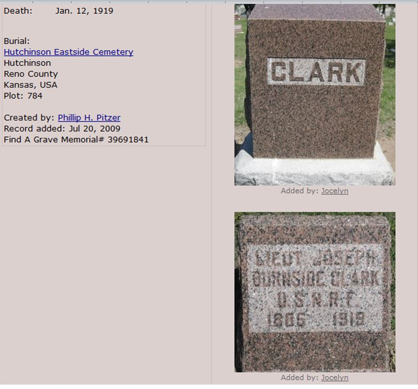 Tombstone of J.B. Clark