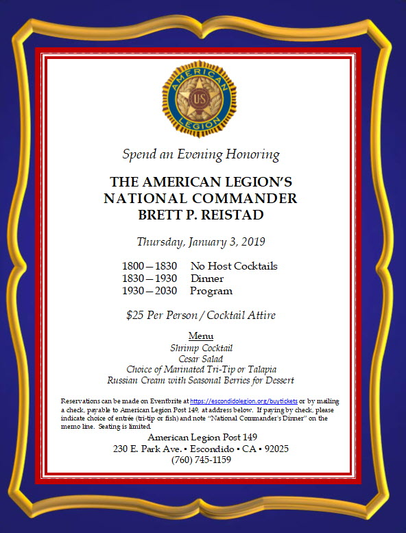 Spend an Evening Honoring The American Legion's National Commander Brett P. Reistad Thursday, January 3, 2019