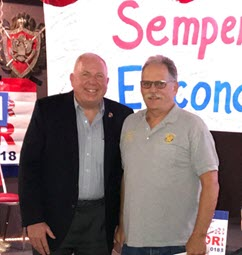 The new Mayor of Escondido & new American Legion Post 149 member, Paul McNamara, with the American Legion, J.B. Clark Post 149 Commander, Mike Frank. Mayor Paul McNamara retired from the United States Marine Corps as a Colonel.