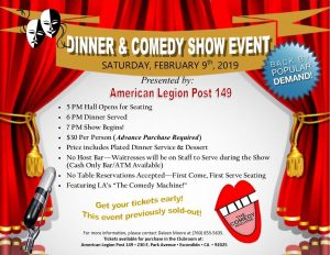 Dinner and Comedy Show Event - February 9, 2019