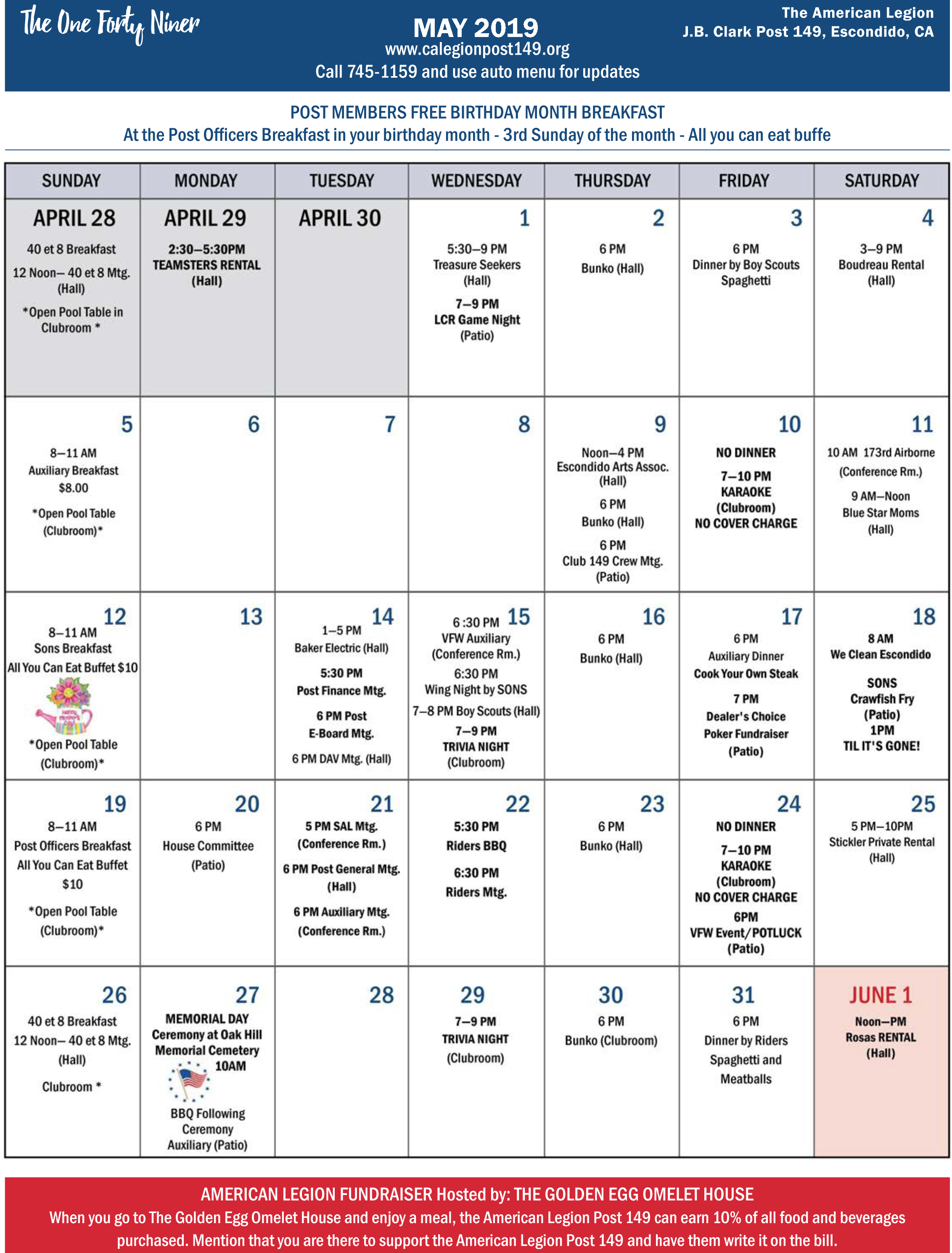 May 2019 Post 149 Calendar, Escondido