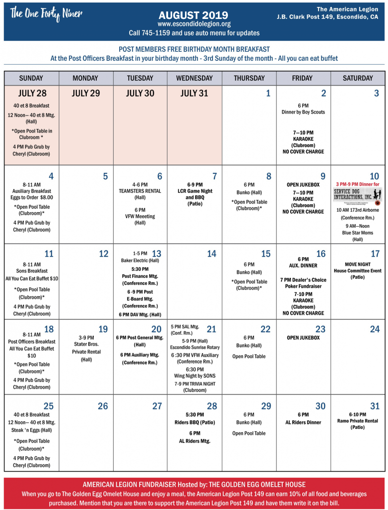 August 2019 Calendar of Events, Post 149 Escondido, California.