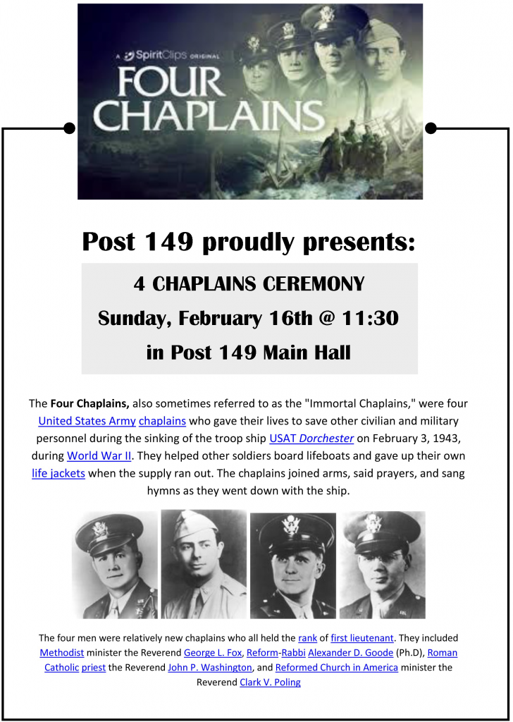 4 Chaplains Ceremony | Sunday, Feb 16| 11:30 am | Post 149