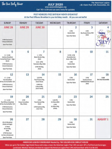 July 2020 Post 149 Calendar of Events