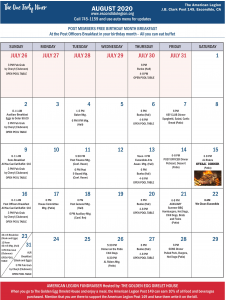 August 2020 Calendar Post 149 Escondido